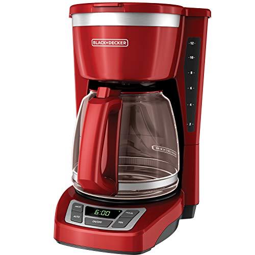 Black+Decker CM1160R Cafetera Programable, color Rojo, Paquete de 12 Tazas
