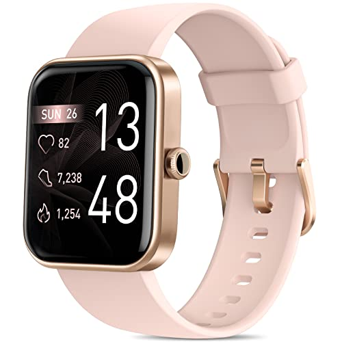 Smart Watches for Women, AOKESI 2021 Version 1.69'' Smart Watch for Android iOS Phones with Alexa Built-in, 5ATM Waterproof Activity Tracker with 24/7 Heart Rate, Blood Oxygen, 100+ Dials, Watch Pink