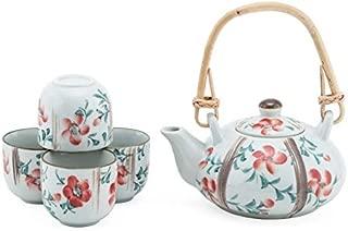 Japanese Style Mini Porcelain Tea Set Ceramic 11 fl oz Teapot with Rattan Handle and Four 2 fl oz Tea Cups Gift Box Set (Red Sakura)
