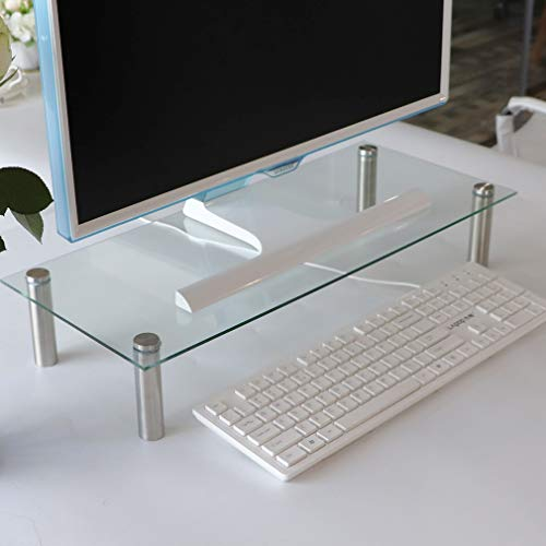 U HOME Tempered Glass Computer Monitor Stand Riser,Tempered Glass, 22' x 9.45' Glass Rectangle Ergonomic Desktop Stand for Computer Monitors, Laptops, Keyboards, Notebook, Clear