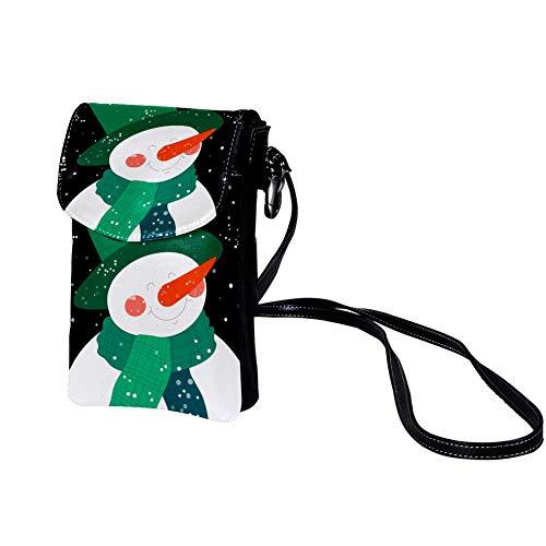 Handy Umhängetasche Schneemann trägt Hut Damen PU Leder Frauen Brieftasche Cross-Body Tasche Schultertasche Klein Handytasche Geldbörse 19x12x2cm