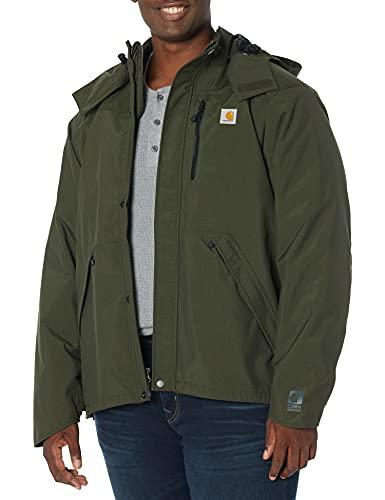Carhartt Men's Big & Tall Shoreline Jacket Waterproof Breathable Nylon,Olive,X-Large Tall