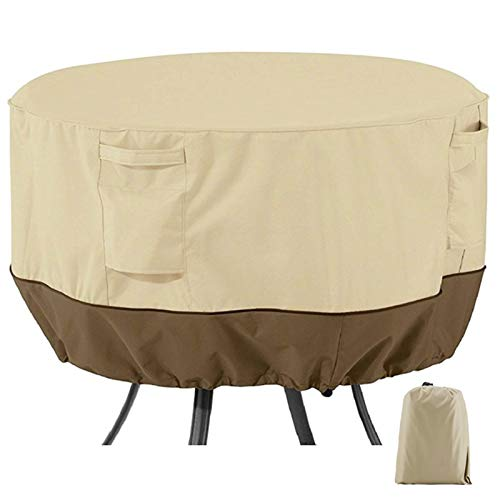 Garden Furniture Covers Round, Outdoor Patio Set Cover 420D Heavy Duty Protection Waterproof Windproof Weatherproof & Anti-UV Patio Circular Table Cover