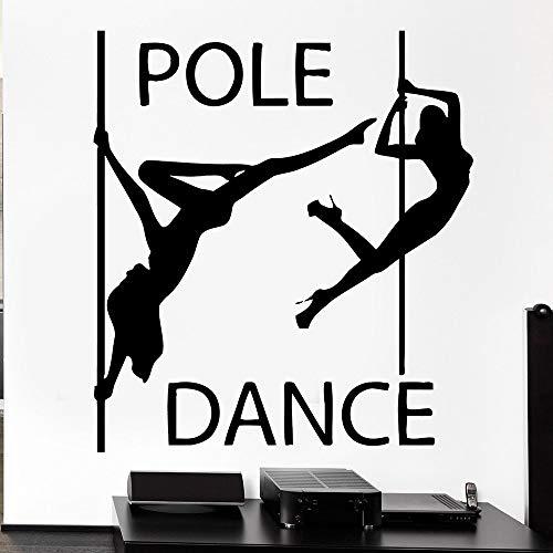 Lamubh Estudio de Baile Vinilo Pared decall Pole Dance Chicas Sexy sin Ropa Bailarina de la pasión Arte Mural Bar decoración 64x57 cm