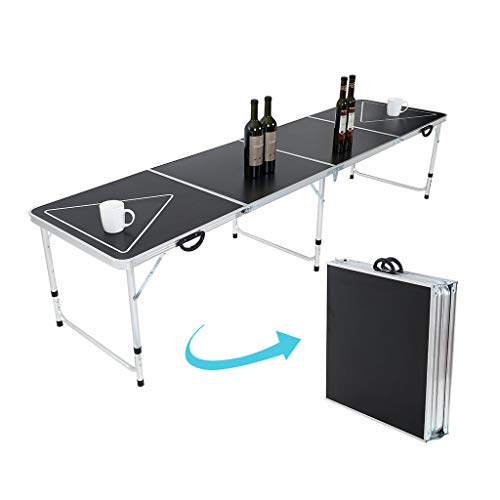 Affordable 8-Foot Portable Beer Pong Table, Foldable Adjustable Height Indoor Outdoor Table with Car...