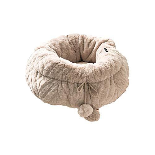 YUMUO Plüsch Zwinger Plus Samt Verdicken Herbst und Winter Haustier Tiefschlaf Haariges Nest Niedliche kleine warme runde Katzenstreu (Farbe: Braun)