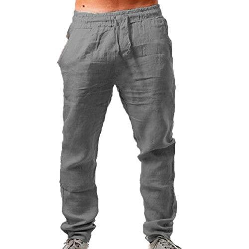 N\P Pantalones de lino de algodón para hombre de verano transpirable color sólido pantalones Fitness Streetwear