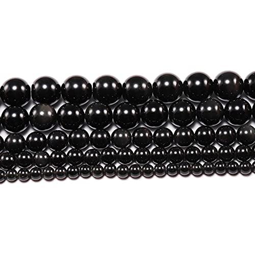 Diseños creativos 1strand / Lot 4/6/8/10/12 mm Piedra Natural Black Obsidian Bead Beads Sueltas para Las Mujeres de DIY Hombres Joyería Pulseras Material para Divertidas Manualidades y Manualidades
