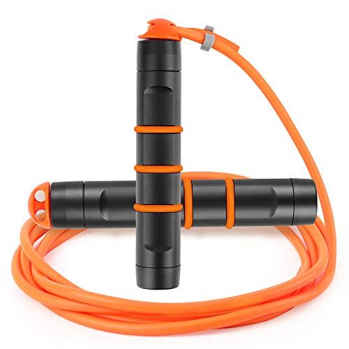 TTMOW Springseil Speed Rope Profi Kugellager & Anti-Rutsch Aluminium Griff und Frostschutz PVC Kable Seilspringen für Erwachsene und Kinder Verstellbar Length Jump Rope mit Tragtasche(orange)