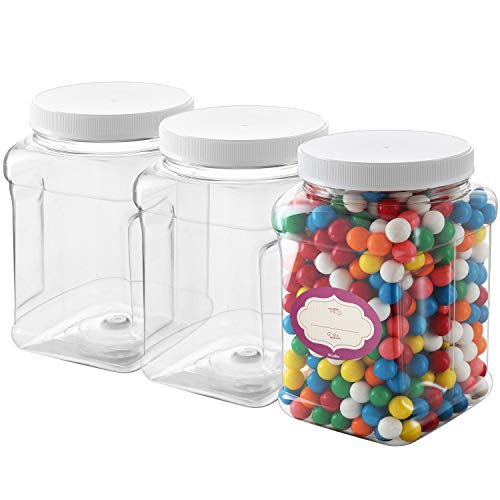Clear Empty Plastic Storage containers with Lids - Square Plastic Containers - Plastic Jars with Lids – BPA Free Plastic Jar - Food Grade Air Tight with Easy Grip Handles (3 Pack 64 Oz)