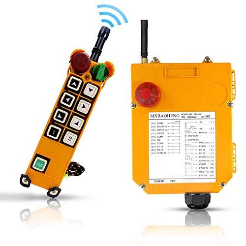 MXBAOHENG Mando para Grua Mando Puente Grua 18-65V con Función de Doble Velocidad F24-8D 24V Mando para Polipasto Mando Grua (1 transmisor y 1 receptor)