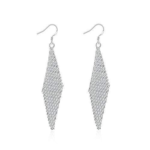 Gymqian Novelty Jewelry-Silver Plated Women Hoop Earrings Silver Rhombus Woven Ball Linear Mesh Dangler