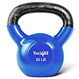 Yes4All Vinyl Coated Kettlebell Weights Set – Great for Full Body Workout and Strength Training – Vinyl Kettlebell 20 lbs, Dark Blue (KA73)