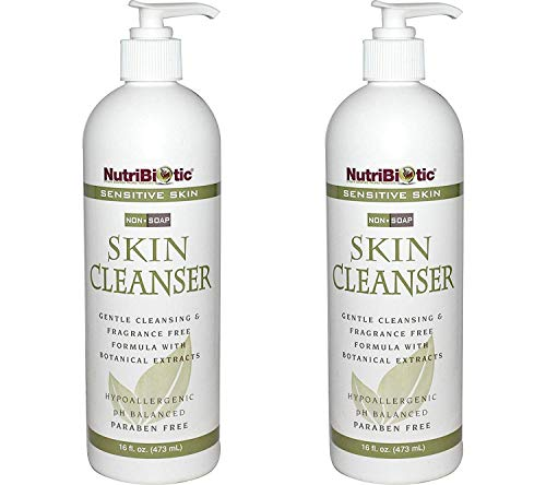NutriBiotic Sensitive Skin Non-Soap Skin Cleanser (Pack of 2) with Aloe Vera Leaf Powder, Grapefruit Seed Extract, Rosemary Leaf Extract, Sage Extract, Coltsfoot Extract and Thyme Extract, 16 oz.