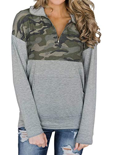 AlvaQ Women's Juniors Casual Cotton Knitted 1/4 Zipper Floral Printed Long Sleeve Lightweight Pullover Tunic Sweatshirt Tops Army 2X
