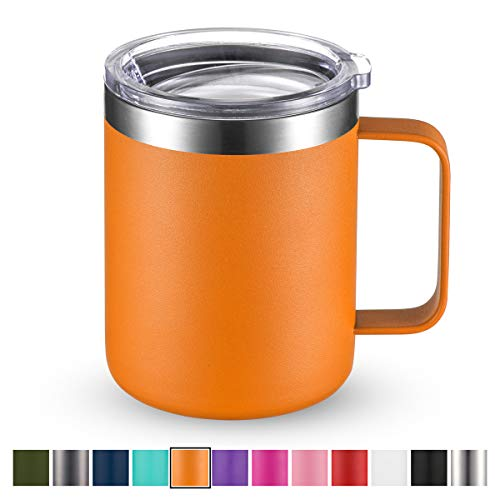 Civago Stainless Steel Coffee Mug Cup with Handle, 12 oz Double Wall Vacuum Insulated Tumbler with Lid Travel Friendly (Orange, 1 Pack)