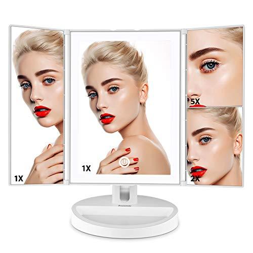 Auxent Specchio LED per Makeup con con ingrandimento 10X Specchio Vanity Illuminato, Rotazione a 360°, Portatile e Senza Fili, Bianco