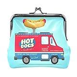 Hot Dogs Carro de cuero Mini monedero de cierre a presión Cartera de embrague para mujeres y niñas