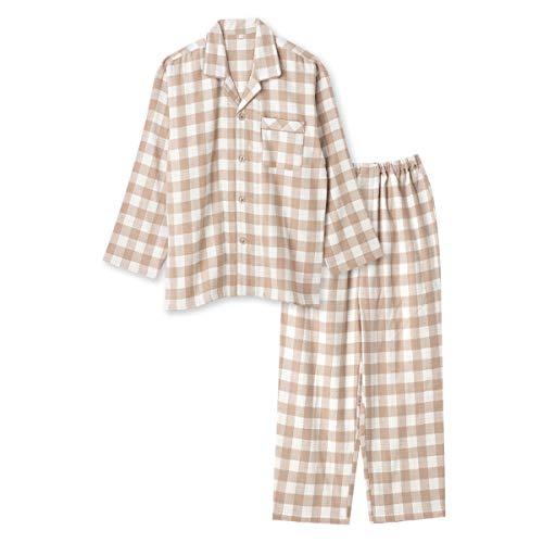 綿100% 長袖 メンズ パジャマ 冬 ふんわり柔らかい2枚仕立ての厚手生地で暖かい ダブルガーゼ起毛 前開き シャツ ブロックチェック柄 おそろい ベージュ M