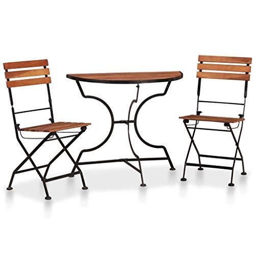 FAMIROSA Set Mesa y sillas Bistro de jardín 3 pzas Madera Maciza Acacia