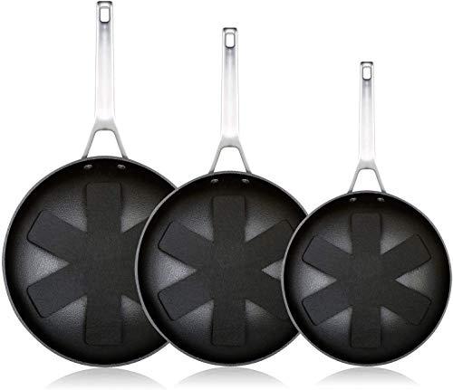 WECOOK Ecosteel Set Juego 3 Sartenes 18-20-24cm inducción, 3 Capas Antiadherente Titanio sin PFOA, 4,2mm Espesor, Mango Acero INOX, Apta Todas Las cocinas, vitroceramica, Gas, Horno