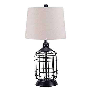 CO-Z Elegant Table Lamps, Birdcage Anti-rust Metal Base & Oatmeal Linen Hardback Lamp Shade, 25.5 Inches Height for Living Room Bedroom