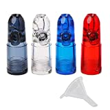 Snuff Bullet Acrylic Plastic Simple Design and Transparent Dispenser Snorter Acrylic Snuff Bullet Rocket Shape Nasal Sniff With one micro funnel(4 pack, Red Blue Clear Black)