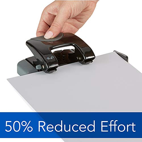 Swingline 2 Hole Punch, Hole Puncher, SmartTouch, 20 Sheet Punch Capacity, Low Force, Black/Gray (74135) Photo #3