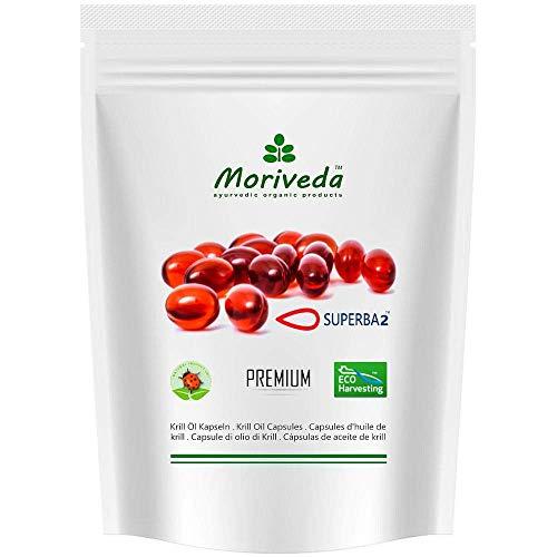 Cápsulas de aceite de Krill Superba de MoriVeda (diferentes tamaños de envase): aceite de krill premium con Omega 3,6,9, astaxantina esterificada, fosfolípidos, colina, vitamina E (60 cápsulas blandas