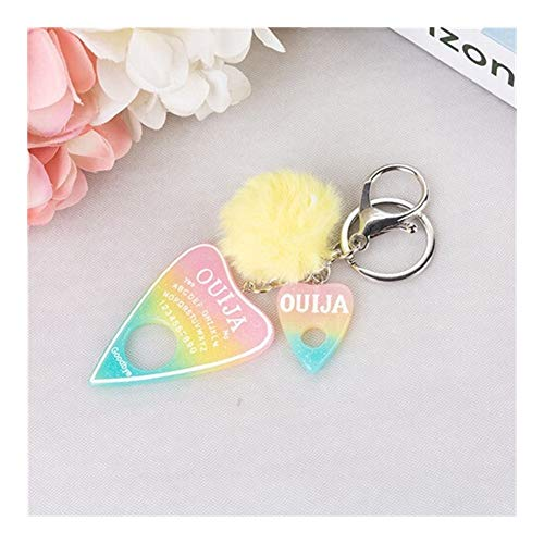 XXBY Keychain 1PC Women Keychain Ouija Planchette Rresin Charms Handbag Keyring with Puffer Ball Ouija Board Keyring Decorations (Color : Pink Yellow Blue)