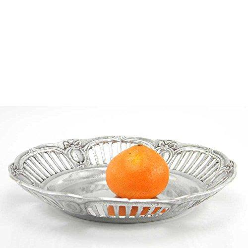 Cavagnini fruitschaal rond, geperforeerd, van tin, handgemaakt