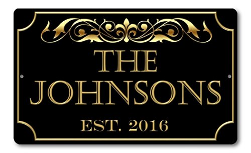 Personalized Family Name Established Year Custom Plaque 8' x 12' Aluminum Sign with Mounting Holes