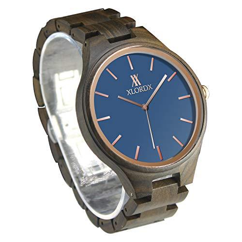 XLORDX Herren Holz Uhr Japanisches Analog Quarzwerk Sandelholz-Armband Rosegold Zeiger Blau
