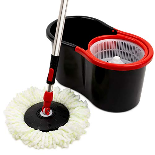 Mop and Bucket Set Strongest Heaviest Duty Mop - Best Floor Mop Easy To Use - For Professional Home Floor Cleaning System - 360 Spin Non Scratch Microfiber Wet Jet Mop With Integrated Wringer Bucket