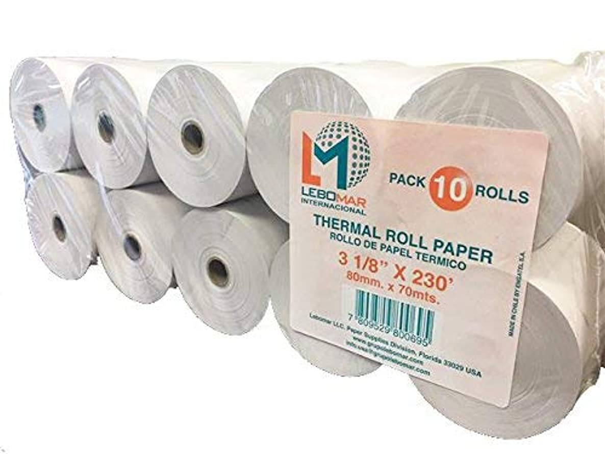 LEBOMAR INTERNATIONAL Thermal Paper Rolls 3-1/8 x 230ft (Box of 10 Rolls Sealed Pack) For POS receipts Printers & Cash Register White – # 1 Voted by Manufacturers and Retailers in ALL AMERICA