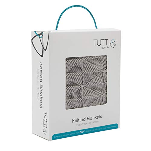 Tutti Bambini CoZee Knitted Blanket - 100% Cotton Sheets - Made for CoZee Bedside Crib, Putty Stripes