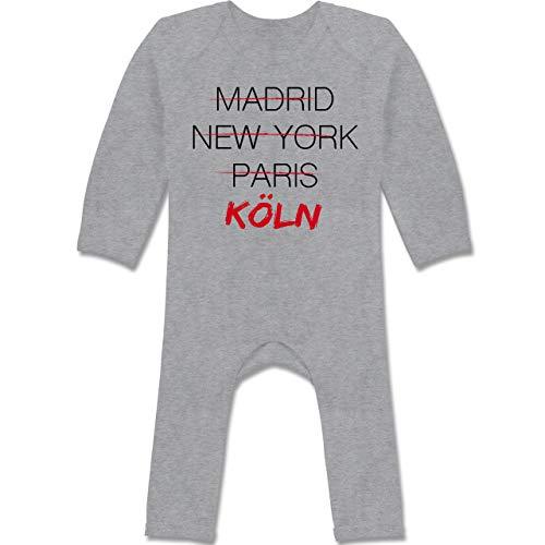 Städte & Länder Baby - Weltstadt Köln - 3/6 Monate - Grau meliert - Köln - BZ13 - Baby-Body Langarm für Jungen und Mädchen