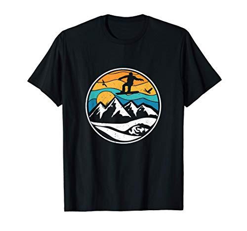 Tiefschnee Snowboarding für Snowboard und Snowboarder Retro T-Shirt