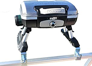 Cuisinart Grill Modified for Pontoon Boat with Arnall's Stainless Grill Bracket Set SILVER