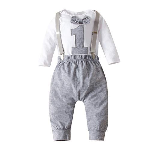 Chennie Baby Jungen 1. Geburtstag Outfits Fliege Strampelanzug Strumpfhose Gentleman Kleidung Set für Fotofotografie (Grau, 9-12 Monate)