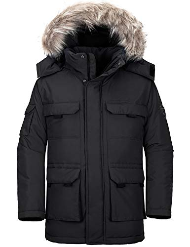 Wantdo Men's Insulated Puffer Jacket Thicken Padded Warm Winter Coat Black L