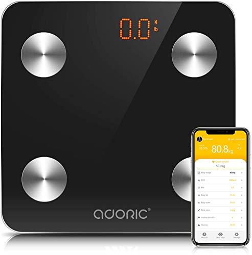 ADORIC - Báscula de baño con Bluetooth para iOS y Android, multimedidas, encendido/apagado automático, 150 kg (negro)