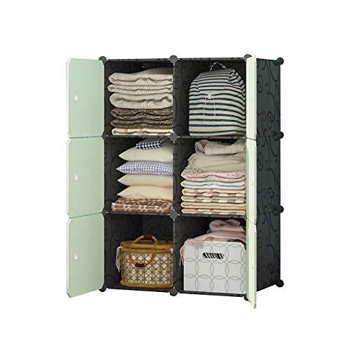 XIAOJUAN Closet Casual Cube BRICOLAJE Unidad de organizador de almacenamiento Armario de gabinete de plástico con puertas para zapatos de ropa fáciles de ensamblar (verde) (Tamaño: 76x47x111cm)