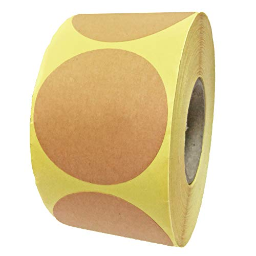 5cm Kraft Marrón Etiquetas Pegatinas Adhesivas redondas, 50