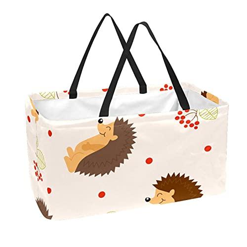 Bolsas reutilizables para comestibles cesta de compras 50L con soporte columna bolsa de almacenamiento erizo caricatura cara sonriente marrón