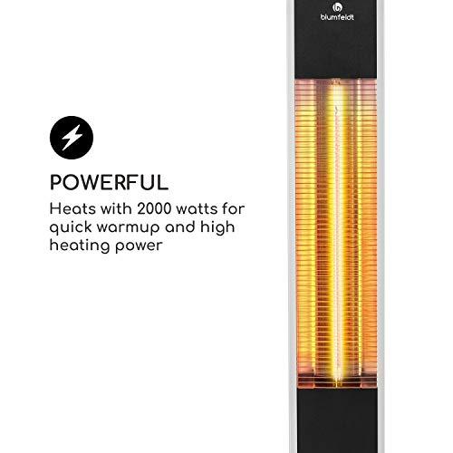 blumfeldt Heat Guru - Riscaldatore a irraggiamento, Emettitore a infrarossi, 3 impostazioni: 650, 1350 e 2000 Watt, Protezione getti e Spruzzi d'Acqua IP34, Telecomando, Timer 24h, Argento