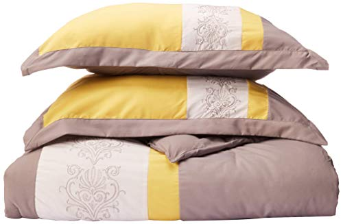 Chic Home 8-Piece Embroidery Comforter Set, Queen, Livingston Yellow