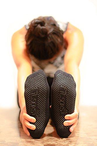 Fitsoxs 2 Pares de Calcetines de Yoga Antideslizante Premium para Mujer – De Algodón Bio - Calcetines de Pilates - Calcetines de Barre – Calcetines de Hombre para Yoga