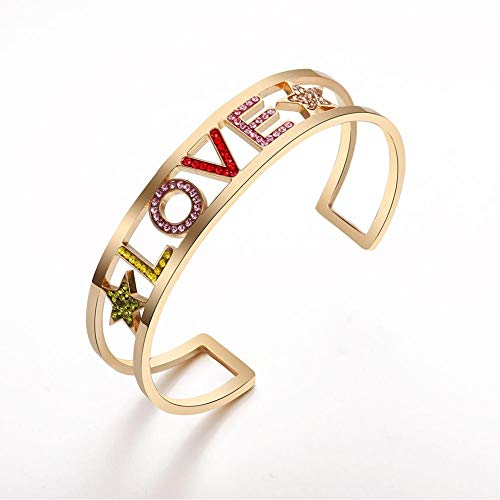 YIYYI HQXIZ Armband Liefde Letter Ster Manchet Bangle Armband Goud Kleurrijke Crystal Bangle Voor Vrouwen Party Bruiloft Sieraden Geschenken