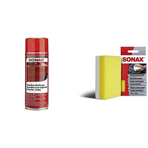 SONAX BaumharzEntferner (400 ml) schnelle und rückstandsfreie Entfernung von organischen Rückständen & ApplikationsSchwamm (1 Stück) zum Auftragen und Verarbeiten von Polituren, Wachsen etc.